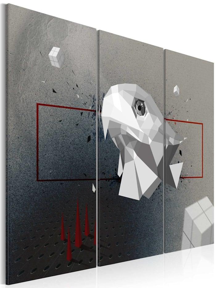 artgeist Wandbild Adler - 3D - Triptychon, Grau,Rot,Weiß