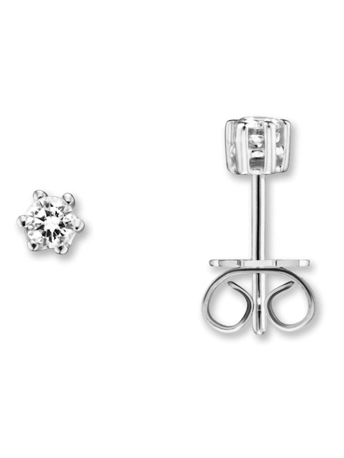 One Element Damen Schmuck Ohrringe / Ohrstecker aus 585 Weißgold mit 0,20 ct Diamant, silber