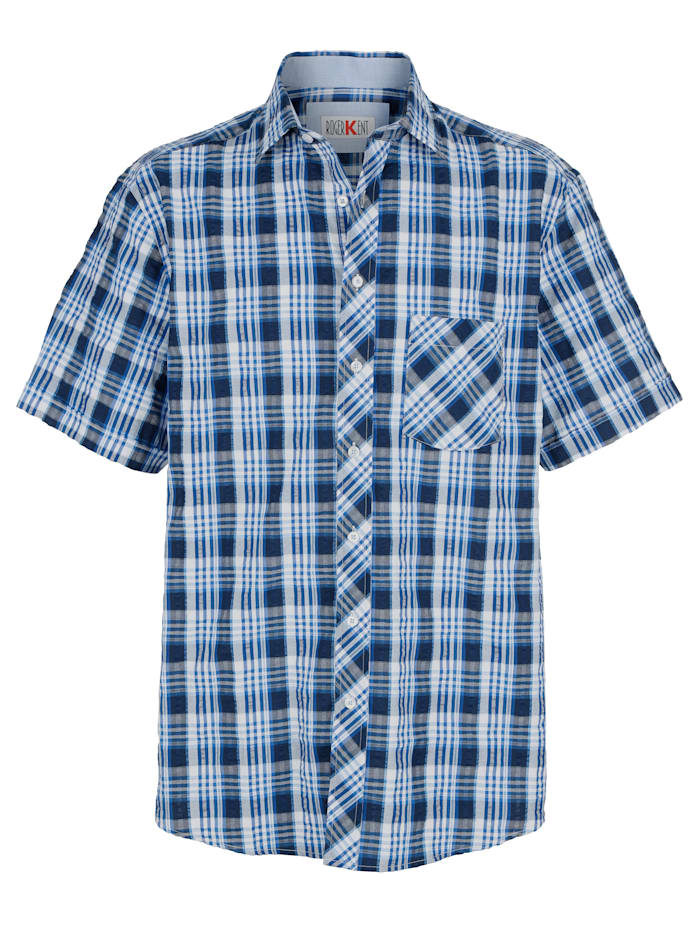 Roger Kent Hemd mit garngefärbtem Karomuster, Blau