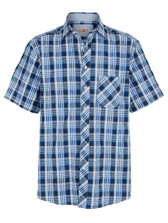 Roger Kent Skjorte med vevd rutemønster, Blå