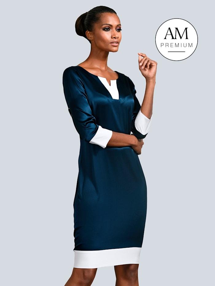Alba Moda Kleid mit kontrastfarbenen Blenden, Marineblau/Weiß