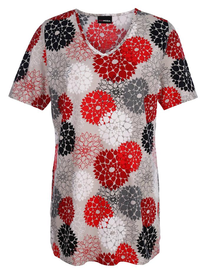 MIAMODA T-shirt long dans une belle assocation de couleurs, Multicolore