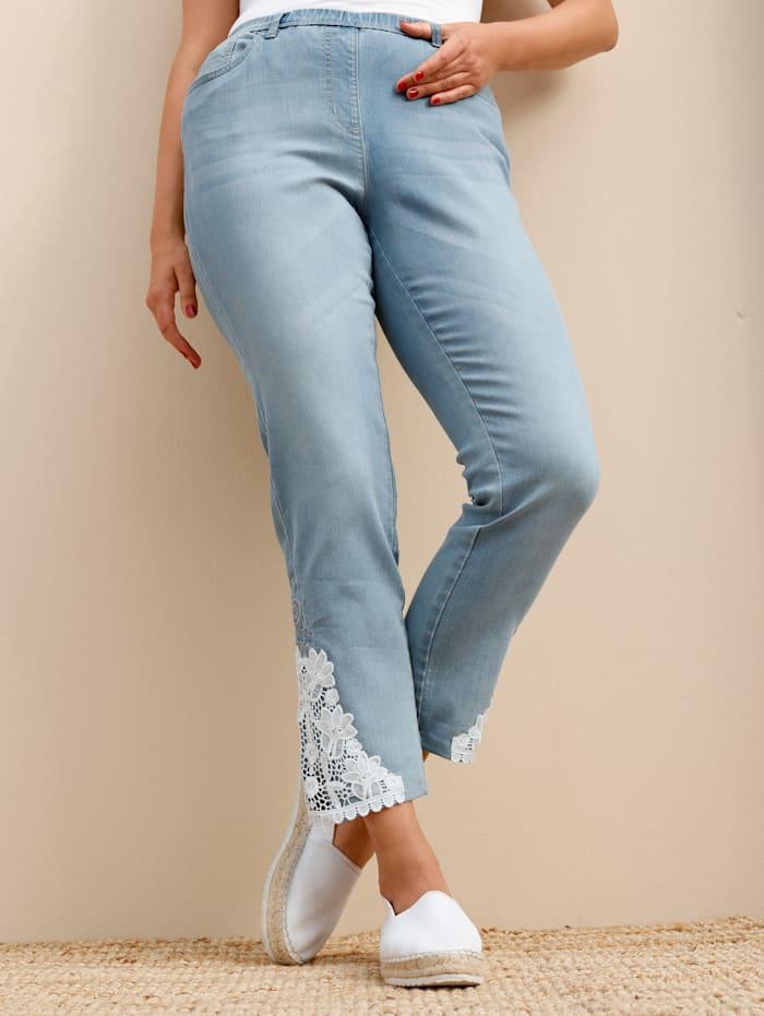 MIAMODA Jeans mit schöner Spitze am Saum, Blue bleached
