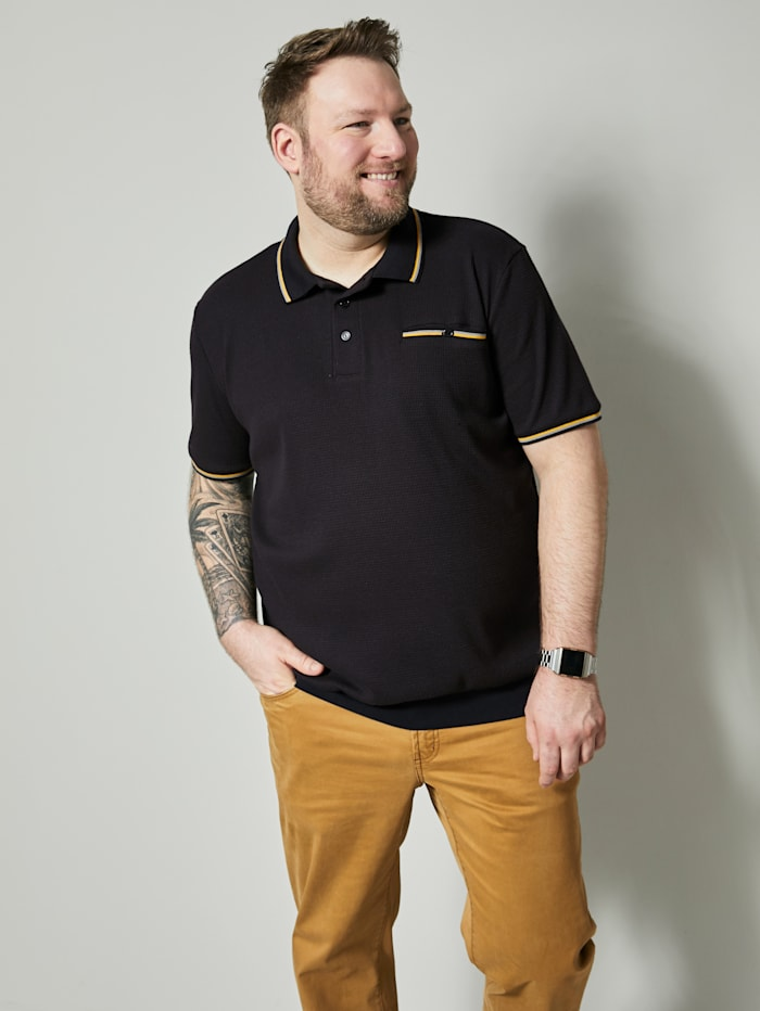 Men Plus Poloshirt Spezialschnitt, Schwarz/Grau/Ockergelb