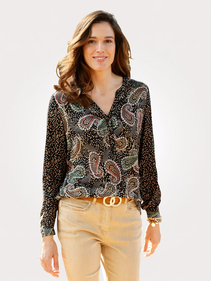MONA Pull-on blouse in a paisley print, Black/Multi