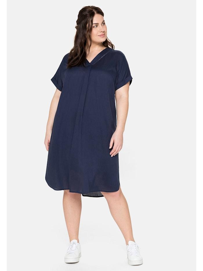 Sheego Kleid mit V-Ausschnitt und Lochstickerei, marine
