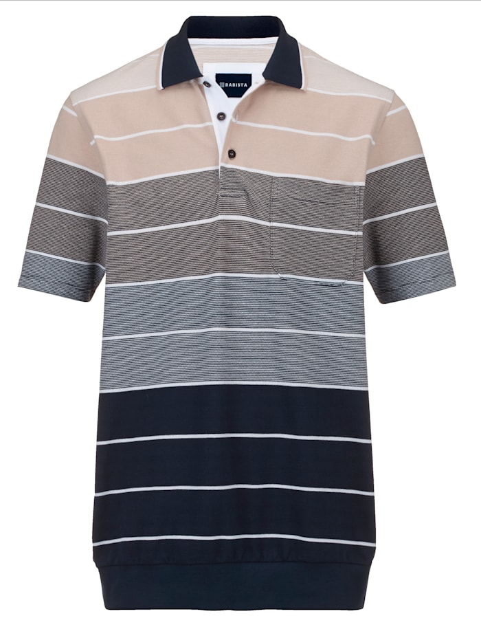 BABISTA Shirt van luchtig piquémateriaal, Marine/Zand