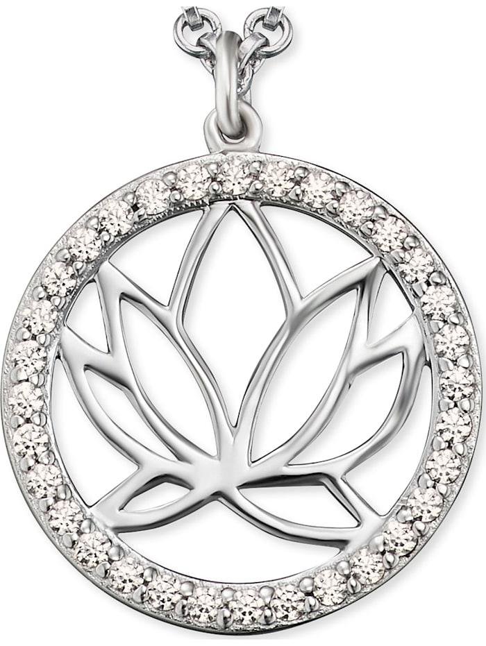 Engelsrufer Damen-Kette Lotus 925er Silber rhodiniert 32 Zirkon