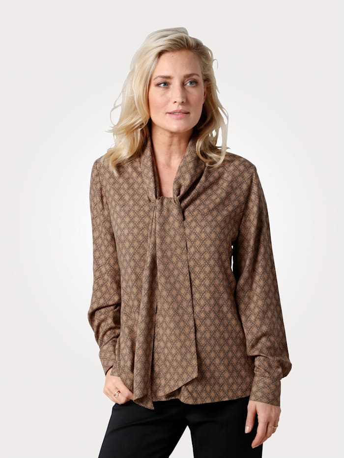 MONA Blouse met grafisch dessin, Taupe
