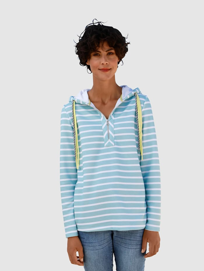 Dress In Sweat-shirt à rayures, Sauge/Blanc
