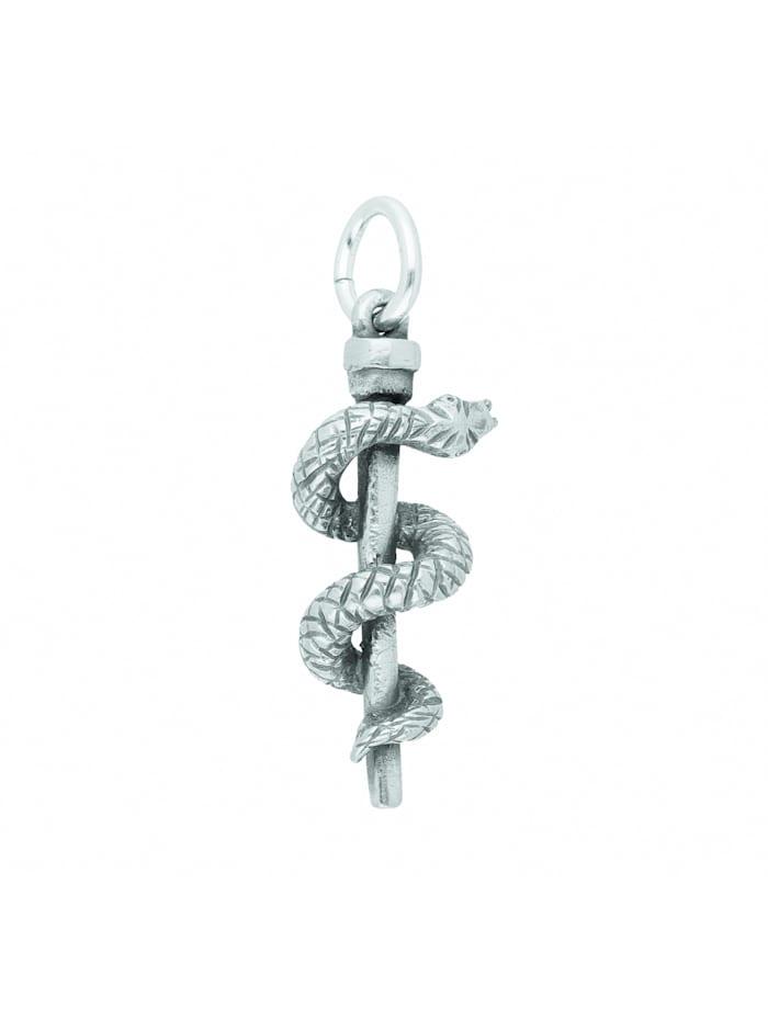 1001 Diamonds Damen Silberschmuck 925 Silber Anhänger Aesculapstab, silber