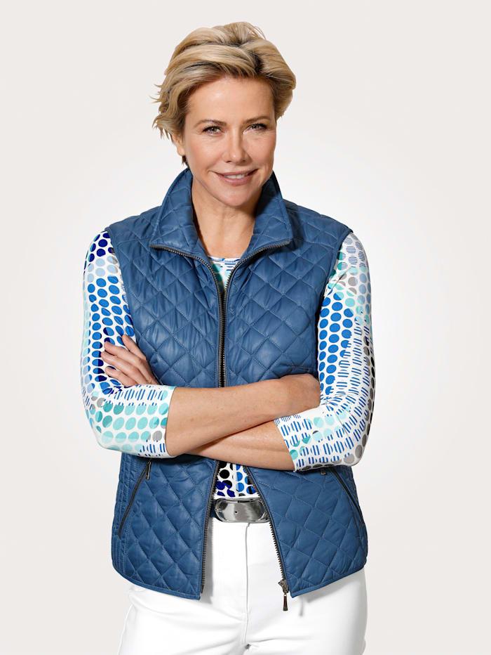 Barbara Lebek Väst med kviltat mönster, Blå