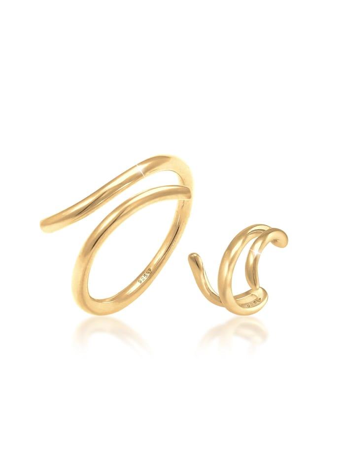 Elli Schmuckset Ring Earcuff Wickellook 2Er Set 925 Silber, Gold