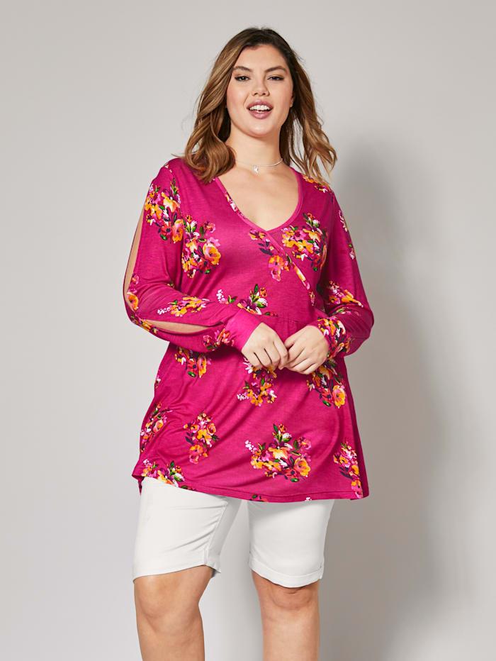 Angel of Style Jersey-Tunika mit Blumen-Print, Pink