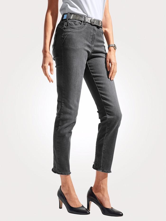 MONA Jeans mit modischer Fransen-Zier, Dunkelgrau