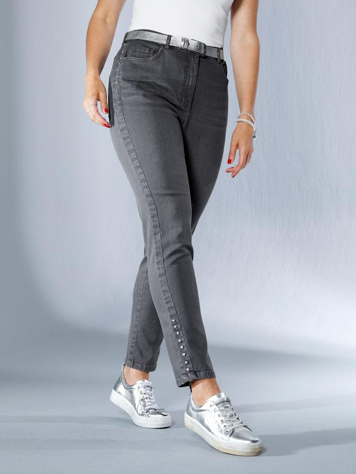 MIAMODA Jeans seitlich mit Strasssteinen besetzt, Grey