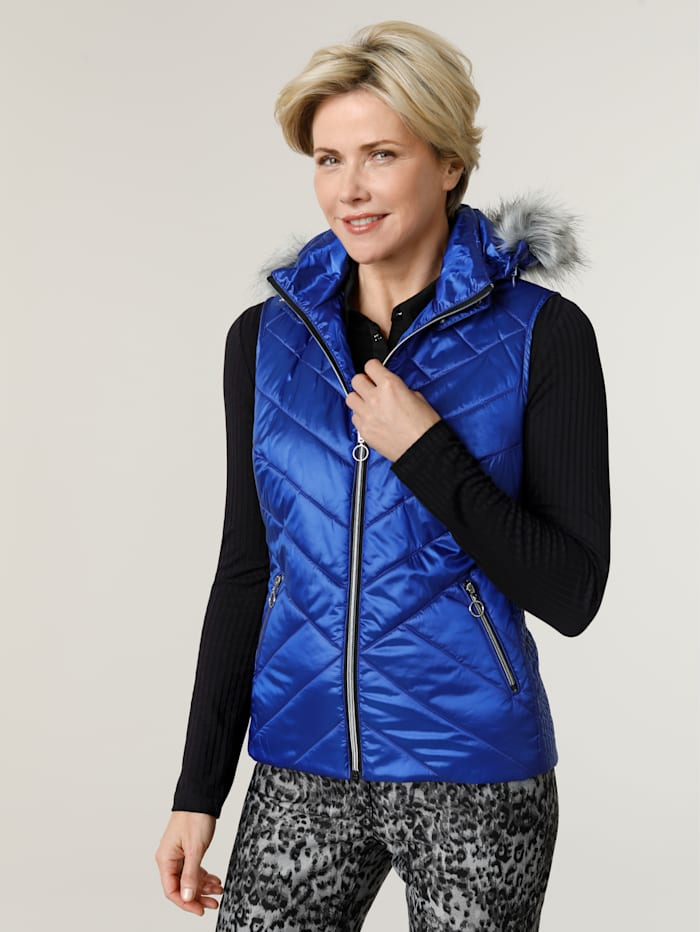 MONA Gilet with a shimmering finish, Royal Blue