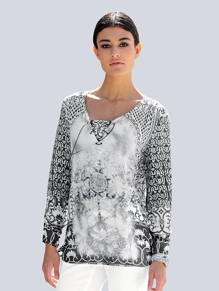 Alba Moda Tunique à motif imprimé exclusif, Blanc/Anthracite