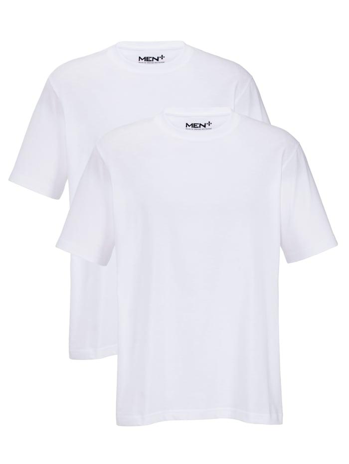 Men Plus T-Shirts im Doppelpack, Weiß