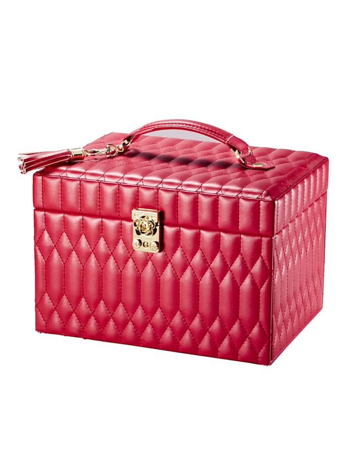 Sieradenkoffer van rood imitatieleer