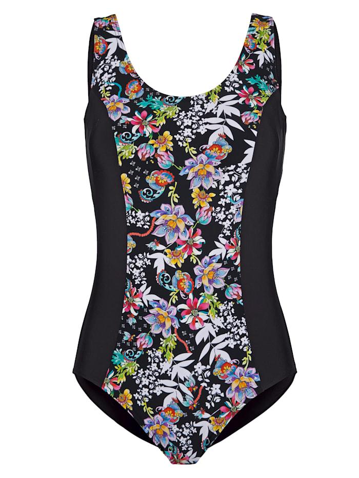 Maritim Badeanzug mit floralem Druckeinsatz, Schwarz/Pink/Lila