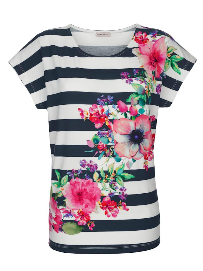 Alba Moda Strandshirt mit Streifendruck, Weiss-Bunt