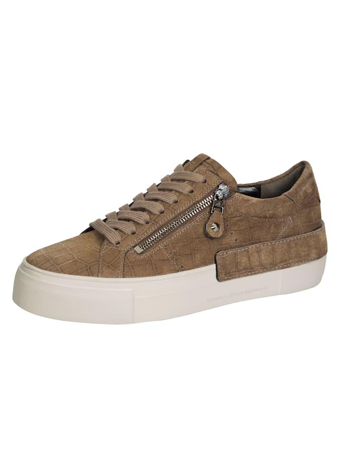 Kennel & Schmenger Sneakers à plateau en cuir velours imprimé, Caramel