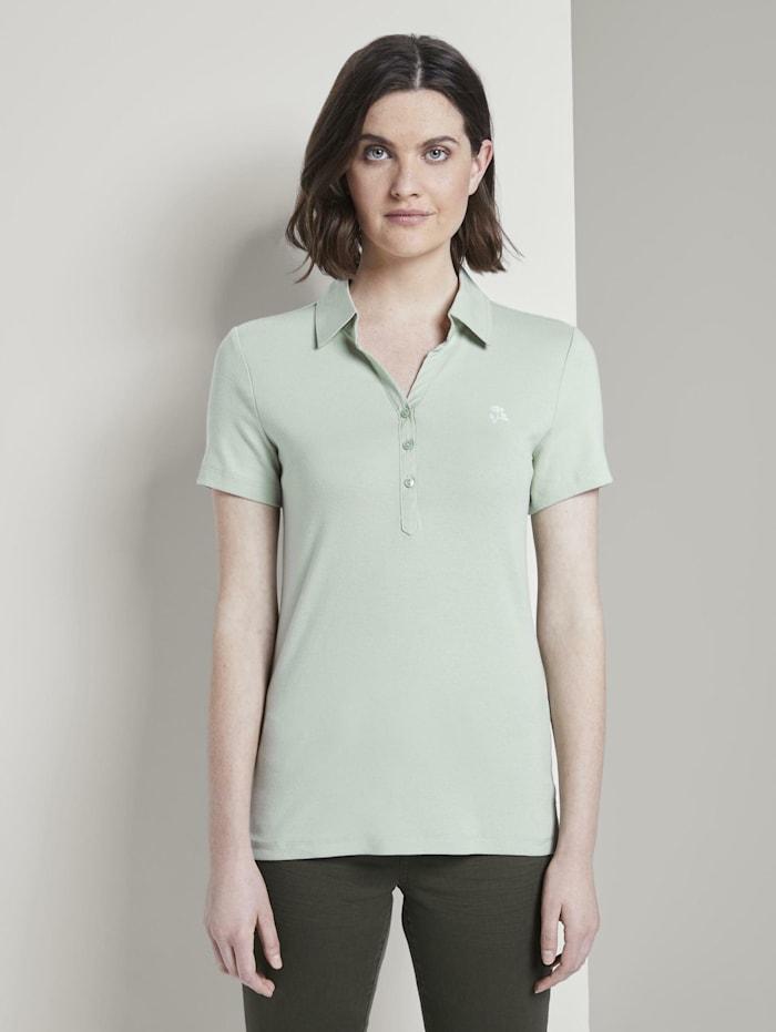 Tom Tailor Poloshirt mit kleiner Stickerei, Fresh Mint Green