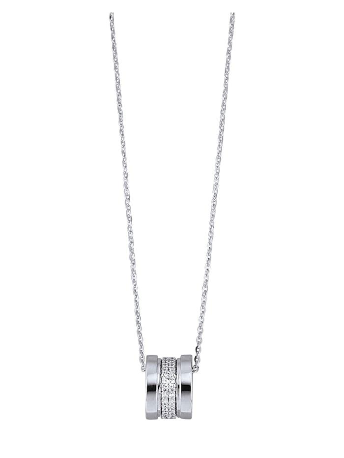 Diemer Silber Hanger met ketting met zirkonia's, Zilverkleur