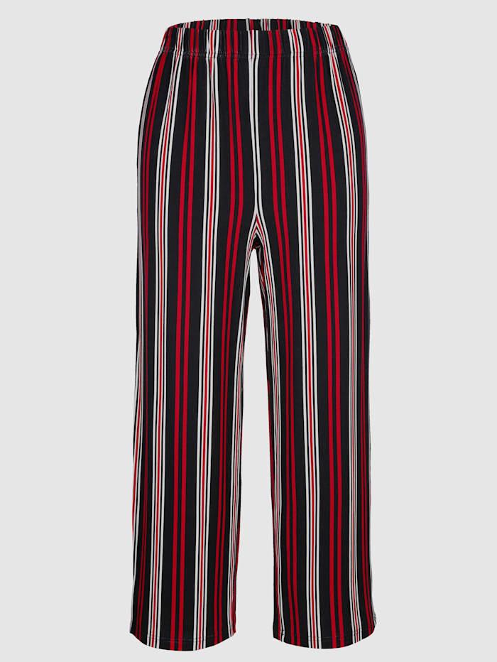 MIAMODA Jupe-culotte à motif rayé allongeant, Noir/Rouge/Blanc
