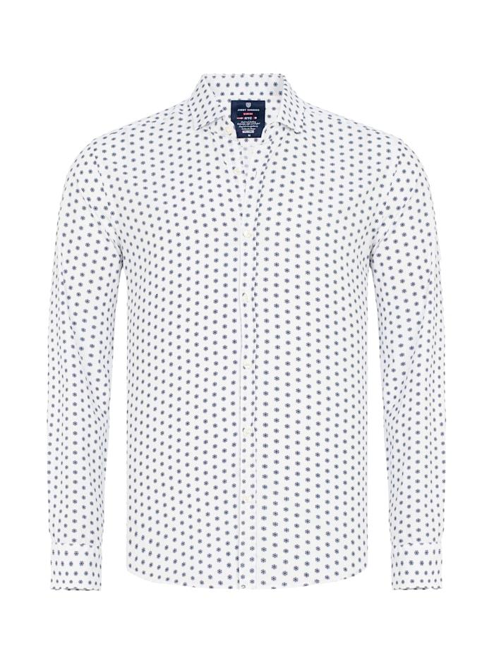 Jimmy Sanders Hemd Este mit Punkte-Muster, white