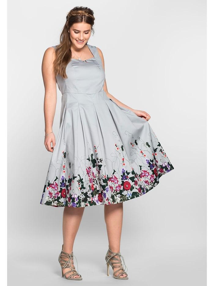 sheego by Joe Browns sheego by Joe Browns Kleid in A-Linie mit Blütendruck, lichtgrau bedruckt
