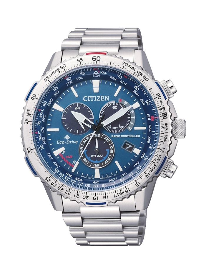 Citizen Herren-Funk-Uhr Chronograph Eco Drive CB5000-50L, Silberfarben