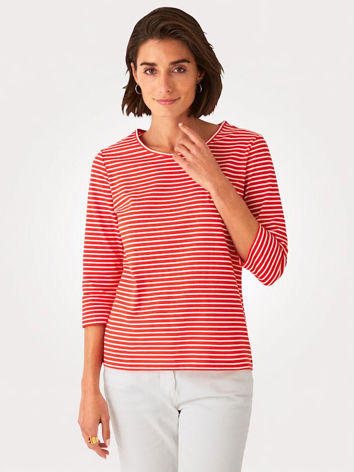 MONA Shirt aus reiner Baumwolle, Orange/Weiß