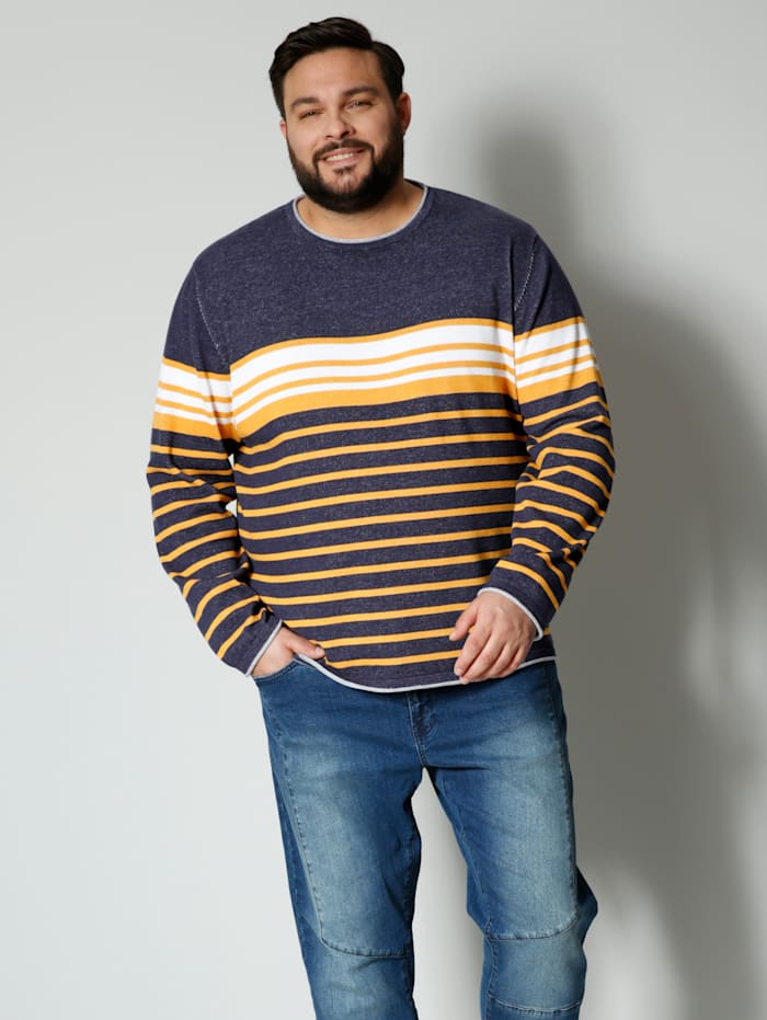 Men Plus Pullover aus reiner Baumwolle, Marineblau/Maisgelb/Wollweiß