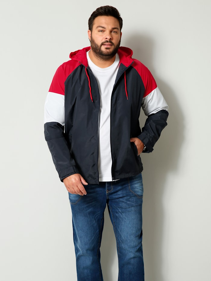 Men Plus Jacke mit wasserdichtem Reißverschluss, Marineblau/Hellrot