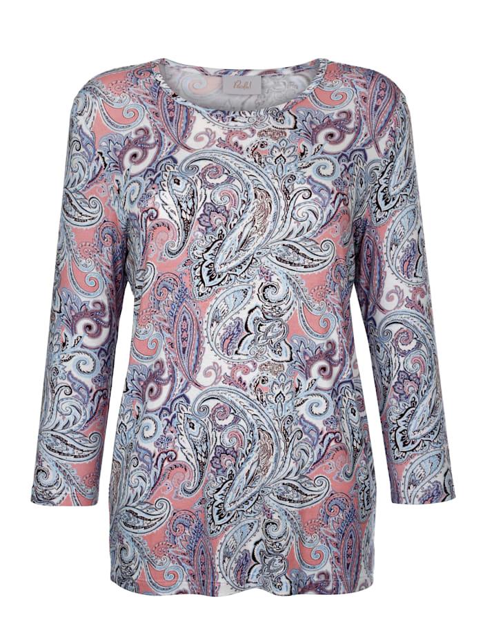 Paola Shirt mit exklusivem Druck, Pfirsich/Sand/Marineblau