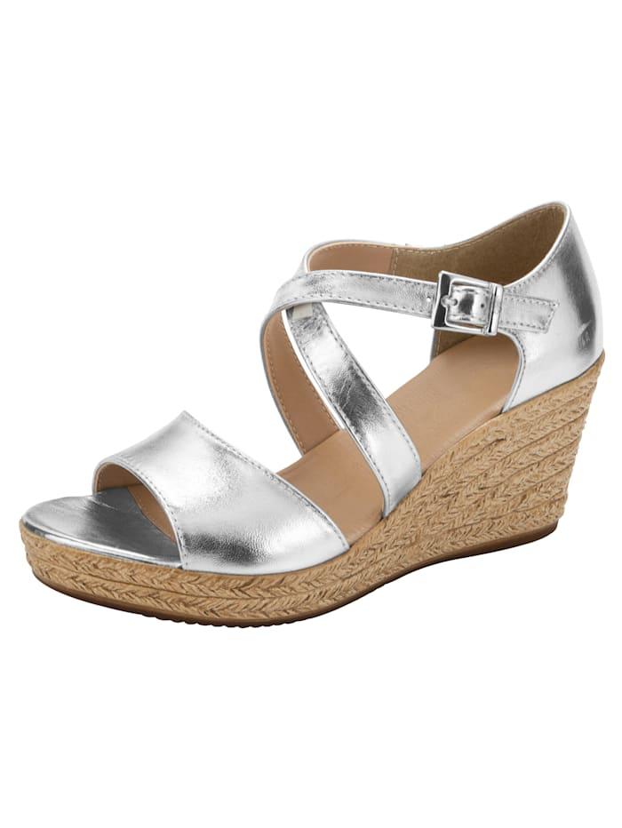 Sandales compensées à beau jeu de brides, Coloris argent