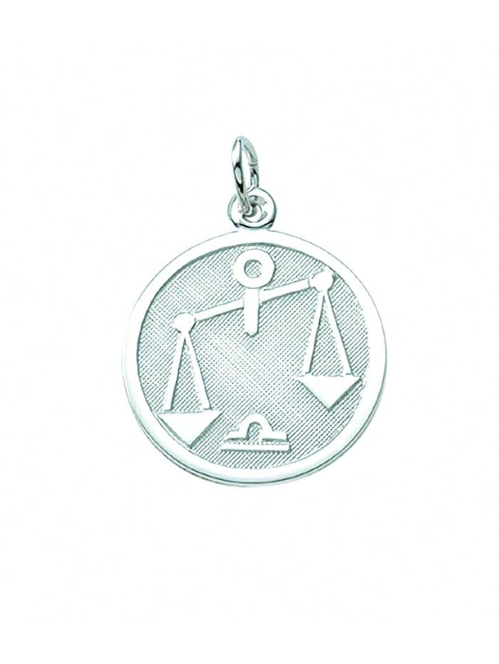 1001 Diamonds Damen & Herren Silberschmuck 925 Silber Sternzeichen Anhänger Waage Ø 15,7 mm, silber