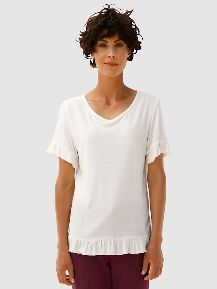 Dress In Shirt mit Volants, Off-white