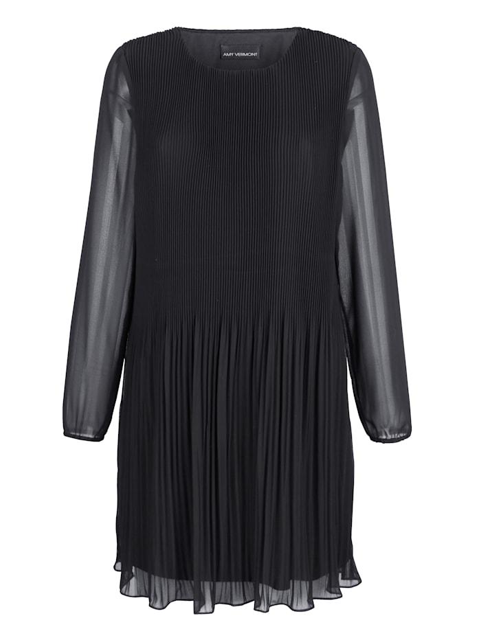 AMY VERMONT Plisseekleid in leicht ausgestellter Form, Schwarz
