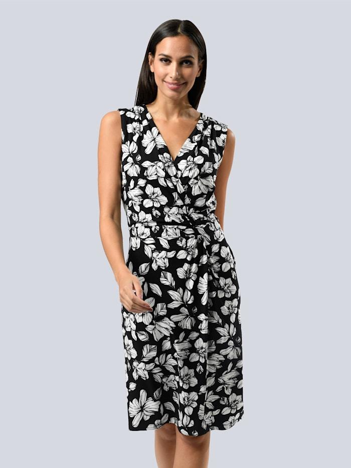 Alba Moda Kleid im floralen Dessin allover, Schwarz/Weiß