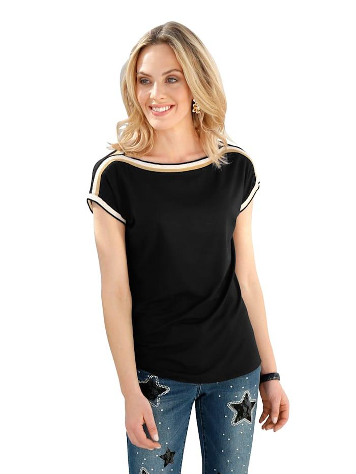 AMY VERMONT Shirt mit Zierband, Schwarz
