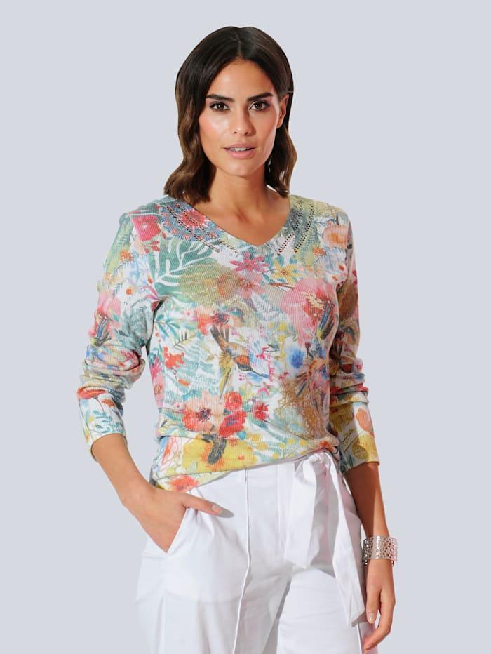 Alba Moda Pullover allover im floral bedruckten Dessin, Weiß/Rot/Grün/Blau