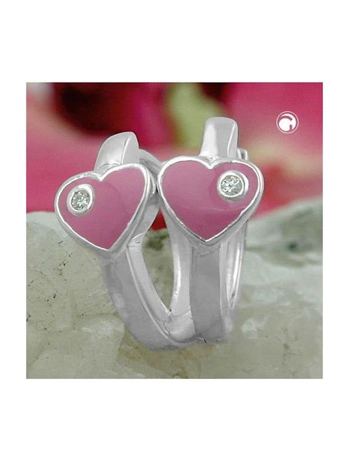 Gallay Schmuckgroßhandel Creole 12x2mm Klappscharnier Herz rosa lackiert mit Zirkonia Silber 925, silber