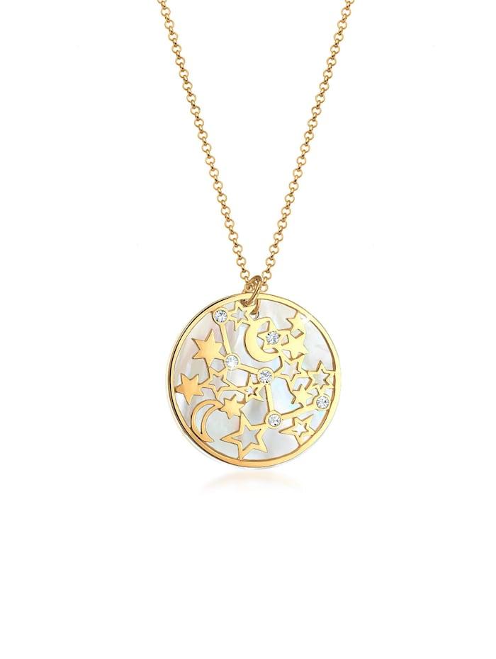 Elli Halskette Astro Sterne Perlmutt Kristalle Silber, Gold