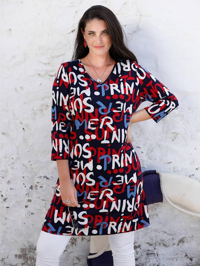 MIAMODA T-shirt long à imprimé grosses lettres, Bleu/Rouge/Blanc