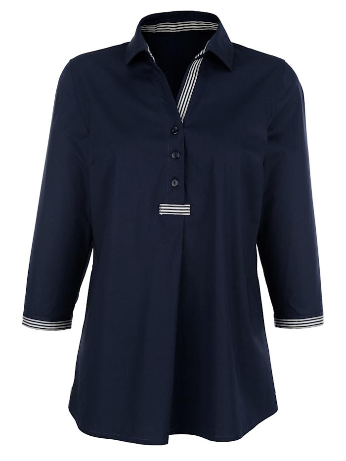 Bluse mit kontrastfarbigem Band