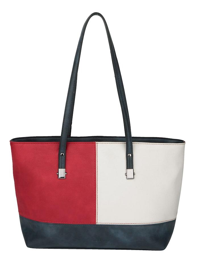 Sina Jo Shopper in een chique kleurencombinatie, rood/wit/marine