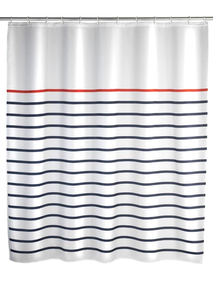 Wenko Duschvorhang Marine White, Textil (Polyester), 180 x 200 cm, waschbar, Mehrfarbig